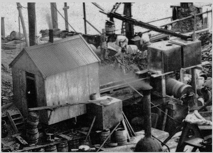The concrete mixing plant.