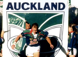 Auckland Warriors' captain Dean Bell leads the team out for their debut game (www.photosport.co.nz)