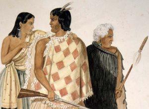 Hōne Heke with Te Ruki Kawiti and Hāriata Rongo (Alexander Turnbull Library, C-012-019)