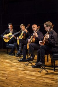 The New Zealand Guitar Quartet plays Oamaru telegram